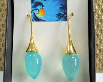 Blue Chalcedony and Gold Filled Earrings, Large,15 X 11 mm polished Chalcedony drops, 24mm length Polished Gold Filled Hooks, One of a Kind