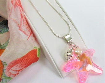 """Pink Swarovski Crystal Starfish Pendant w/Silver Conch shell,Genuine Pink pearl charms,silver bail,18""""silver snake chain,pink Aurora 41X40mm"""