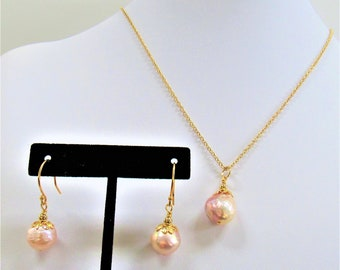Baroque Pearl,Pearl Pendant ER Set,15 mm PinkPearls,Pink Mauve Pearls,Silver Green flash,Gold earwire hoops,handwired bail,caps,gold chain