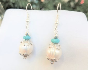 Genuine Turquoise & Cultured Pearl Earrings,11 mm Snow White pearl,turquoise Rondelle bead,925 silver baskets,wires,silver bead top,fishhook