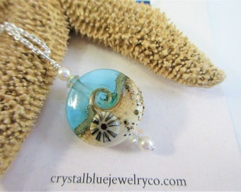 "Ocean Wave Bead Pendant,Large Teal Blue Glass Beach Wave,w/ Anemone Sand,Genuine Pearls,2 Vintage Faceted Crystals,18""or 20"" Sterling Chain"