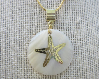 "14 k Gold Starfish sealed on white Abalone pearl disc pendant, 1.5 "" circle,14K gold 18"" chain w/ lobster closure and ext., etched starfish"