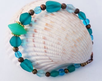 "Glass Bead Bracelet, Aqua Sea-glass 8.5"" Bracelet - Opaque milk glass center Bead - bronze spacers, lobster closure,ring, 100% glass beads,"