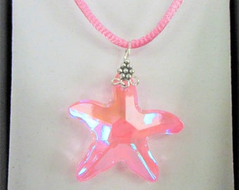 "Pink Swarovski Starfish Crystal Pendant hardwired silver bail,18"" matched pink satin snake cord,pink blush bevel crystal,Aurora coat 30X28mm"
