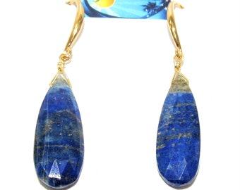 Lapis Lazuli teardrop,faceted gemstone.teardrop earrings,Lapis Lazuli earrings Gold fishhooks earwire,Blue Lapis Lazuli,faceted lapis lazuli