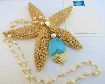 """Ocean Wave Lamp-work Starfish Pendant,Frost Teal Glass,Sandy Beach Wave,Genuine Pearl,pale blue Crystal,22"""" genuine white pearl gold rosary"""