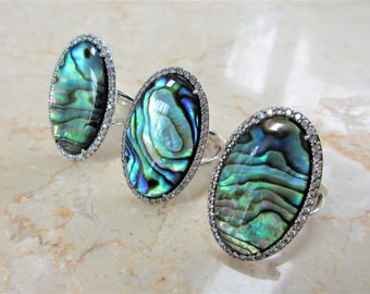 JUST REDUCED! Genuine Abalone Oval Sterling Ring,21 X 14 mm shell,Crystal Doublet in .925 silver,48 prong set Zircon gems frame oval setting
