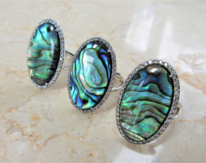 Featured listing image: JUST REDUCED! Genuine Abalone Oval Sterling Ring,21 X 14 mm shell,Crystal Doublet in .925 silver,48 prong set Zircon gems frame oval setting