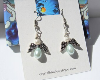 White blue pearl angel earrings,SSilver winged pearl angels, hand made powder blue angel earrings, silver wings and ear wire, Pearl earrings
