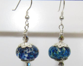 Lampwork blue earrings,Lampwork Glass Earrings,Blue Black white dots,Blue Grey Crystal,Lampwork glass,Sterling handwired, Blue Black Glass