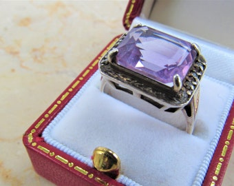 Vintage Sterling,Amethyst ring,Emerald cut,Light Amethyst,12 X 10mm,Diamond accent,Sterling silver,Size 8,Beautiful Silver,Silver ring,