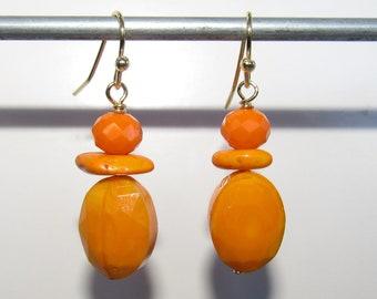 Orange Facet stone,Silver earring,triple stack beads,tangerine beads, bright orange stone,Beach colors,Persimmon,Pierced Earrings,Fishooks,
