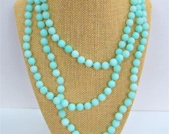 Mint bead amazonite,Bead necklace,60 inch strand,mint ball beads,long strand necklace,hand tied strand,6mm mint beads,matte mint amazonite