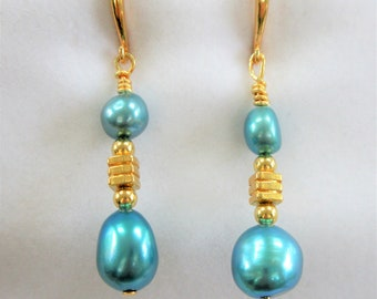 Teal Honora Pearls and 14K gold Earrings, Antique Asian cube and teardrop bead earrings, handcrafted gold wires,excellent gold ear hook