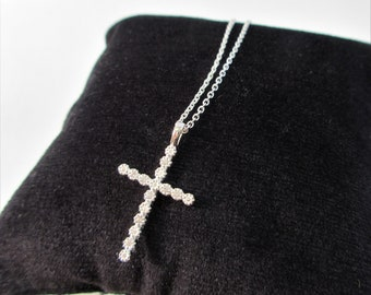 Sterling Silver 16 Pave cubic zirconia cross pendant, 18 inch sterling cable chain w/1 inch ext,Avon Product designed,1 inch Christian cross