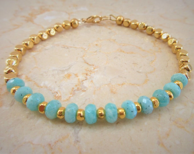 Featured listing image: 14K Gold beads,Genuine Amazonite 6 X 4 mm bead bracelet, Hand crafted,Gold lobster claw,Genuine stone beads,Gold soft cubes