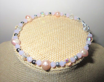 Crystal Genuine Pearl Silver bead Bracelet, 8 inch memory wire with lobster claw, bridal pink and aurora borealis crystal,Hand done,only one