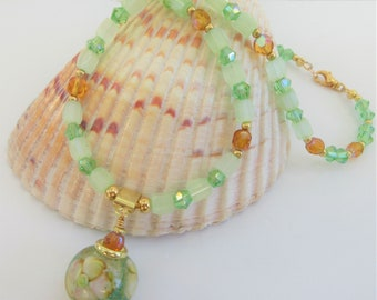 """Lamp work Crystal Floral Bead Pendant,18 """"Necklace w/ER,Handcrafted glass focal,Green frost & crystals,aurora amber,14K gold beads,lobster"""
