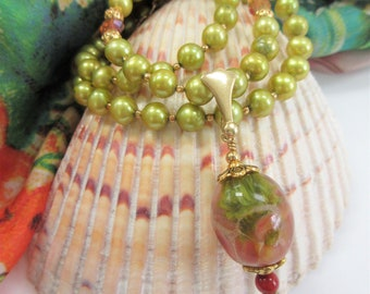 """Genuine Green Pearl Necklace Earring Set, 20"""" Necklace w/Lamp work glass focal,Moss green genuine pearls,pink crystals,14K gold bead,lobster"""