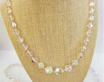 "Faceted Aurora Borealis Crystal Necklace,Pink crystal beads,20"" or 23"" ,5-15 mm cut crystals,Vintage beads,Sparkling Rainbow and Pastel Pink"