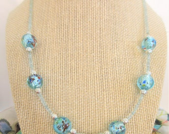 Aquamarine and Lamp work bead necklace,faceted 2-3mm genuine aquamarine beads,6 12mm lamp work beads,w/.925 sterling lobster claw,wedding