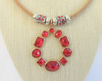 "Cork Necklace with Silver, red charms, 18"" long 5 mm cork, with 2.75 red faceted charm, slider beads, lobster claw closure,Bold Red Pendant"