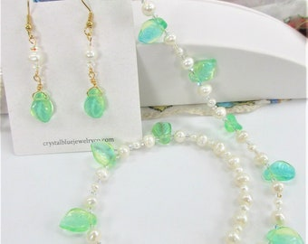 """Green Glass leaf Pearl 21"""" Jewelry,48 Swarovski Aurora Borealis sparkling crystal,Necklace &/or Earrings,14K goldplate,Spring Bride Jewelry"""