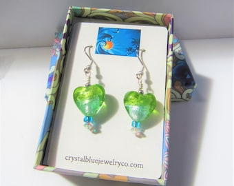 Lampwork green and blue heart earrings, w/aurora borealis disc and teal glass beads, silver handwired earwire,natural variations in glass