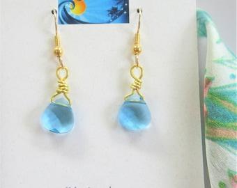 Swarovski Blue Teardrop Earrings, Hand gold wired Crystal earrings,Half inch Robin Egg Blue Faceted Teardrops,Pretty sparkling fishhook