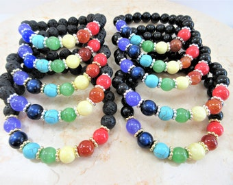Gemstone Rainbow Stretch bracelet,Round 10mm Lava Rock or black glass beads,Genuine gemstone unisex bracelet,LBGTQ Yoga wrist beads