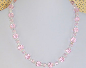Vintage Pink crystal,Pink Necklace,Crystal necklace,Clear Crystal Beads,Pink crystal bead,Vintage crystal jewelry,Bridal Jewelry,Flower Girl