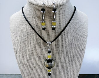 Canary Yellow Earring Pendant SET - Lamp work, silver, & black foil bead pendant and earring set with black silk cord
