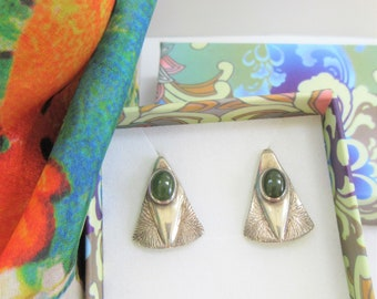 Sterling Silver Earrings, V shaped etched Vintage pierced ER with dark green jade cabochon set ovals,Handmade Chevron shaped,high polished