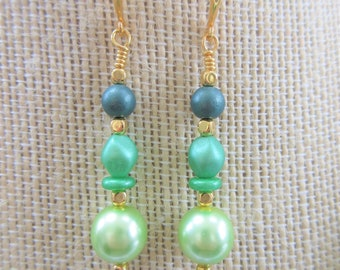 Green Glass Pearl Bead Earrings, Czech glass green pearls,14k gold hook earrings,Green Goddess pearls, multi-green, 3mm-16x12mm mixed shape