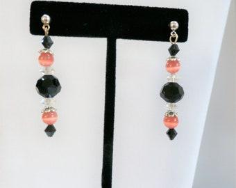 Victorian Peach beads,Peach bead earrings, black,Peach black earrings,crystal bead earrings,victorian style earrings,silver post earring
