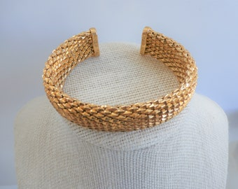 "Italian solid Bronze Mesh Cuff in Gold or Silver-Large 8"" bracelet, both Nickel Free and Tarnish resistant,never worn, flexible comfortable"