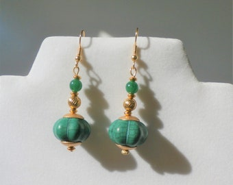 Green Bead Earrings and Gold Genie Earrings - 1.5 inches, Green veined pumpkin shaped beads with 14 k gold beads,wires, jade accent beads