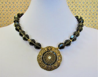 Vintage Smoke Crystal,Choker,Crystal Bead necklace,gold Brass medallion,India brass pendant,inlaid brass medallion,Mourning Women's Necklace