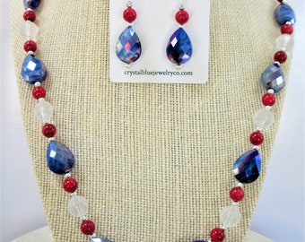 Red White Blue Silver beaded necklace & earrings set, faceted blue glass beads,red genuine coral smooth beads,SS spacers, Earrings SS wires