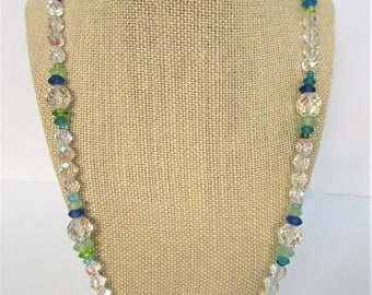 """Sparkling Crystal/Seaglass Bead Necklace,24.5"""" long,Vintage Aurora Borealis 8mm beads,9 Clear Facet 12mm balls,54 seaglass discs,fish clasp"""