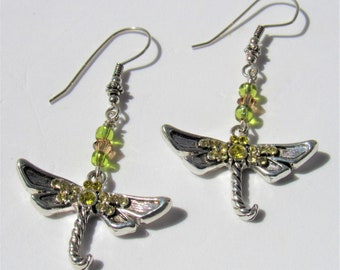 Silver Crystal Dragonfly earrings,shades of yellow crystal encrusted dragonfly drops, Sterling silver shaped with encrusted & beads, pierced