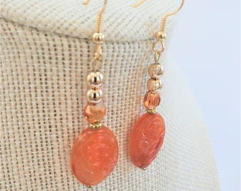 Antique Chinese Carved 2 side Carnelian Coin Earrings, with 14k gold plate beads, gold fishhook wires, 2 amber faceted crystals