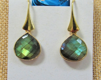 Faceted 22K Labradorite 14K GOLD earrings, 16mm 22kt Gold plated Bezel Labradorite Faceted Teardrop Pendant Focal Bead, two sided open drops