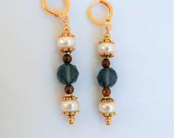 Earrings, Faceted Blue -Grey Crystal Ball earrings with Pearls, jasper balls, gold lever back small hoops
