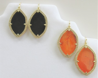 Orange or Black Stained glass earrings, Orange or Black look of stained glass,Front crystal frames, fish hook ear wires,back smooth gold
