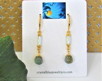Labradorite Melon,Gold Pearl Earrings,carved Labradorite,Pearl stick Gemstone, Pearl connector,Gold PL fish hook,Swinging pearl Labradorite