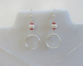 Sterling Wire earrings and pendant, Silver plated Wired, with pearl rondelle and 4 antique carved carnelian disc beads, matching pendant