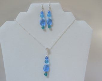 """Bead Necklace and earrings,Pebble Beach  - SET -18"""" Pendant, matching pierced earrings-blue toned sea-glass,  silver chain w/3' extender"""