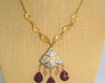 "Gold & Silver Leafed Indian necklace, 3 Natural Ruby beads 7 Crystals,6 Semiprecious Pear Beads, 16"" gold chain, 2"" Brass extender,2 sided"