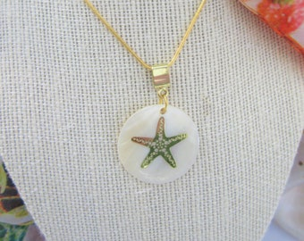"14k Gold Starfish Pendant.White Abalone Pearl disc pendant, 1.5 "" pearl disc,Starfish necklace,Pearl pendant with 18"" chain, Gold and Pearls"